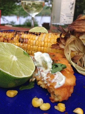 Corn Fritters & Avocado Jalapeño Sauce