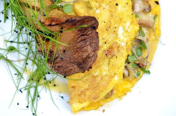 Mushroom Omelette Recipe with Microgreens from PlatterTalk