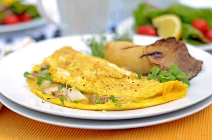 Mushroom Omelette Recipe with Microgreens