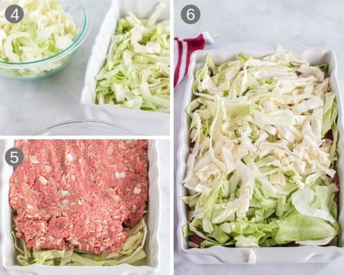 Layering stuffed cabbage casserole with cabbage and beef mixture.