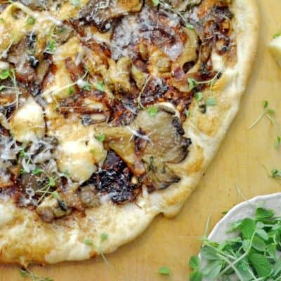 Balsamic Mushroom Pizza with Caramelized Shallots & Microgreens