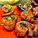 platter of flank steak pinwheels