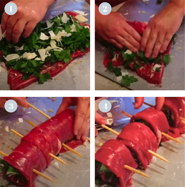 Rolling a flank steak for to make pinwheels.