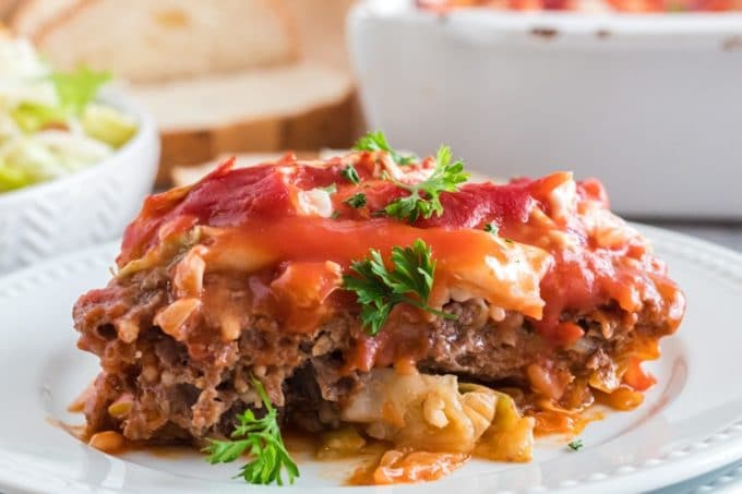 Plate of stuffed cabbage casserole.