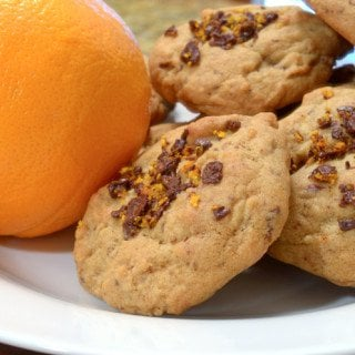 A stack of orange chocolate cookies.