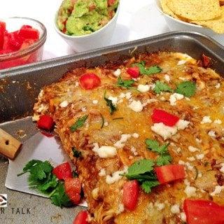 Cheesy Chicken Enchilada Casserole (Mexican Lasagna)