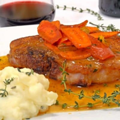 Cayenne Seared Pork Chops with Orange-Glazed Carrots