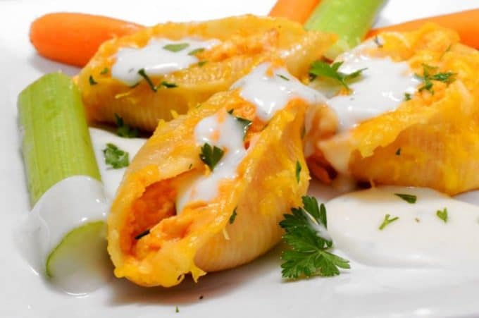 Buffalo Chicken Sutffed Shells Recipe on Platter Talk