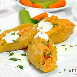 Buffalo Chicken Sutffed Shells Recipe on Platter Talk