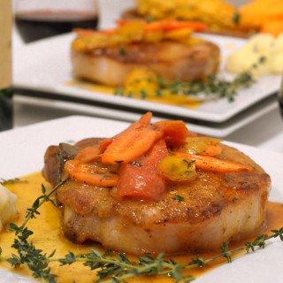 Cayenne Seared Pork Chops with Orange-Glazed Carrots