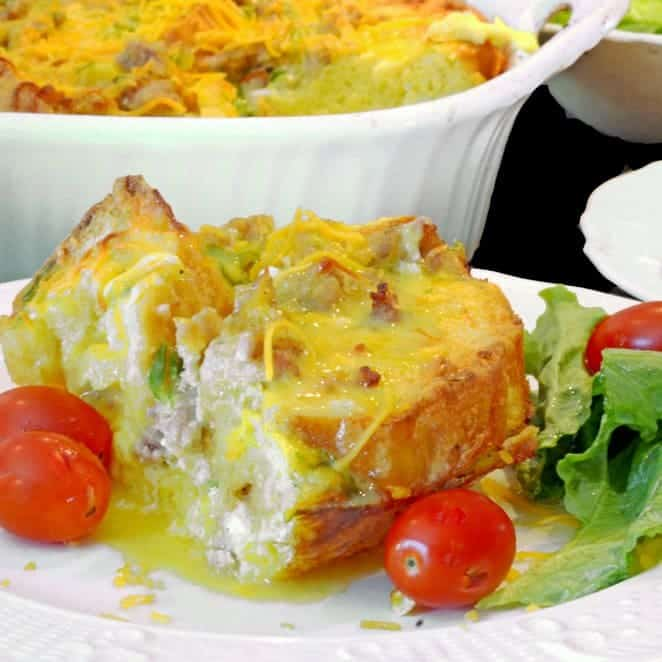 This Christmas Breakfast Casserole is great for any day.