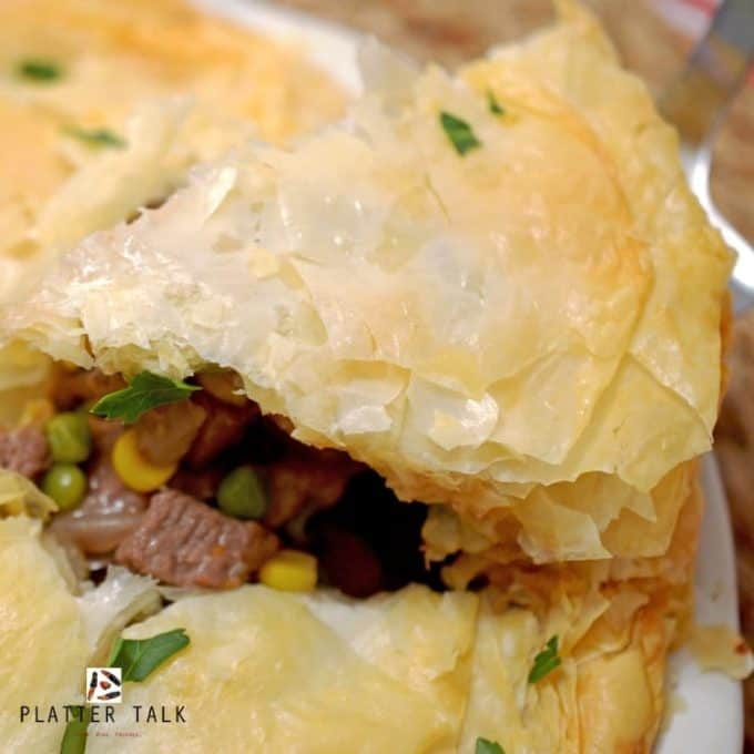 Prime Rib Phyllo Pot Pie Recipe from Platter Talk