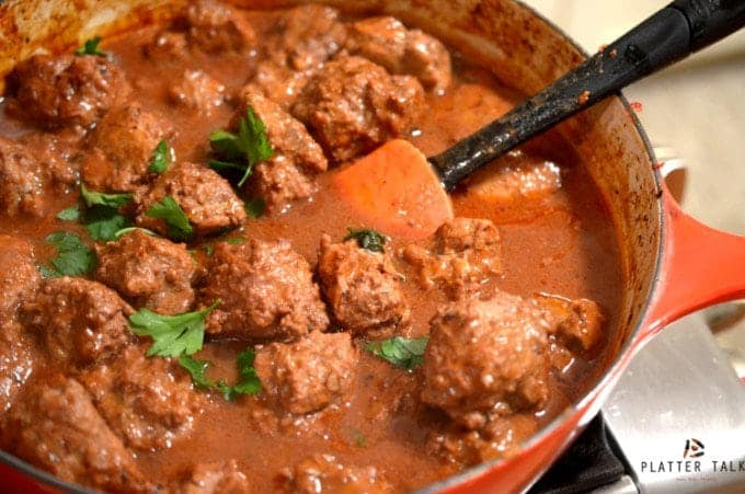 Braised Savory Meatballs Recipe by Platter Talk
