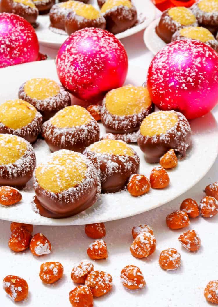 Buckeye treats on a festive platter.
