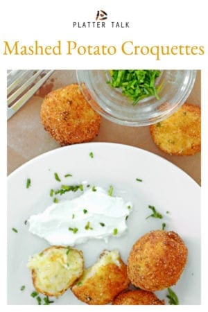 This mashed potato croquettes recipe from Platte Talk uses leftover mashed potatoes and savory Parmesan cheese for a fast and easy leftover recipe that you will want to serve over and over again! #baked #cheese #leftovers #recipe #food #appetizers #Thanksgiving #eggs #croquettes