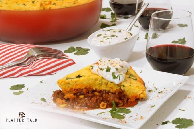 Chili cornbread casserole and red wine.
