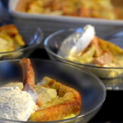 Cinnamon Apple Pear Bread Pudding Recipe by Platter Talk