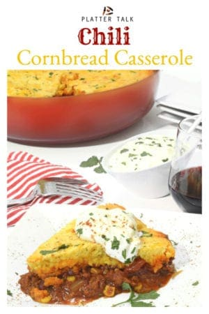 This easy Jiffy recipe for Chili Cornbread Casserole is a delicious and inexpensive comfort meal that will satisfy any hungry crowd. #Jiffy #comfortfood #cornbreadcasserole #chili #easy #recipe