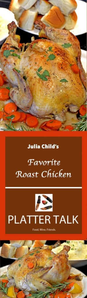 A roast chicken with carrots