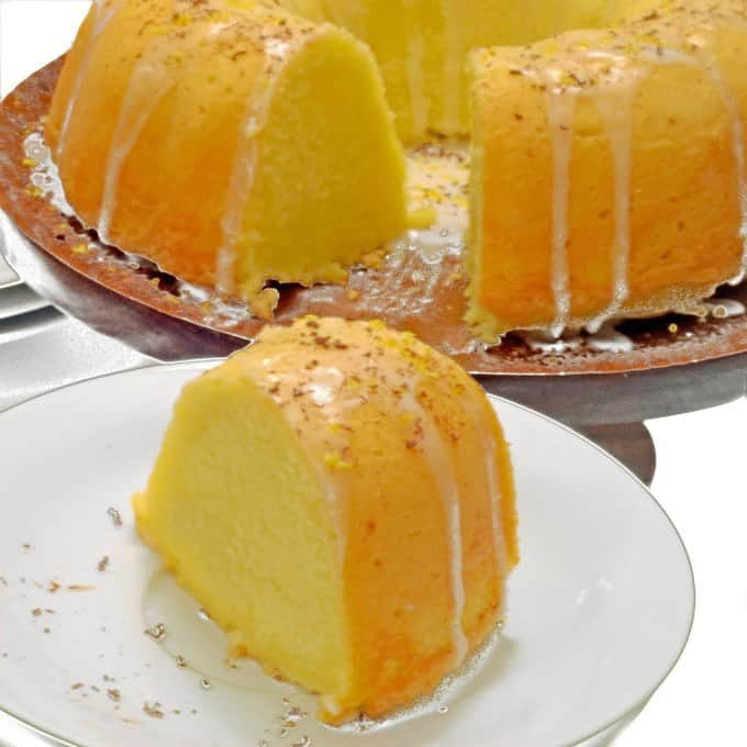 Slice of lemon bundt cake.