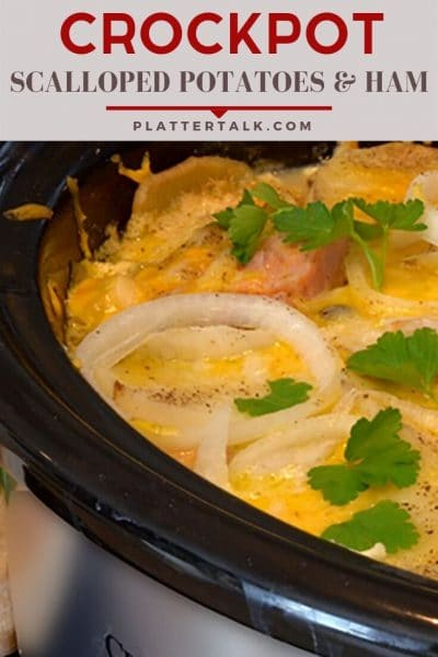 Slow cooker full of scalloped potatoes