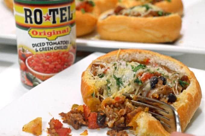 a parmesan sausage bread bowl