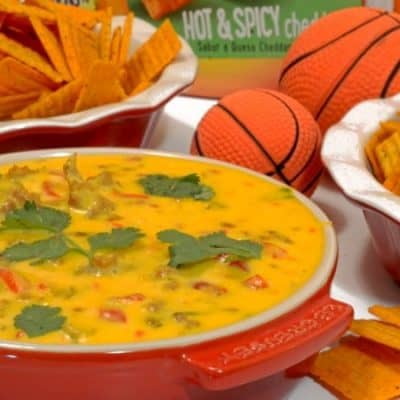 Tango Sausage Cheese Dip on Cheez-It Hot & Spicy Grooves