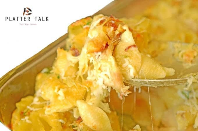 Crispy Chicken Leftovers & Shells Casserole is a great leftover chicken recipe!