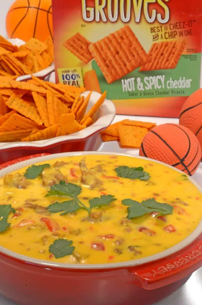 Tango Sausage Cheese Dip on Cheez-It Hot & Spicy Grooves by Platter Talk