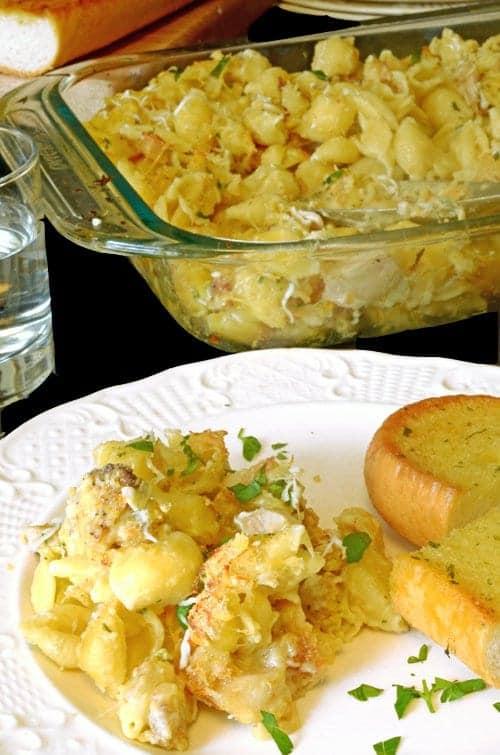 Crispy Chicken Leftovers & Shells Casserole Recipe. using leftover fried chicken.