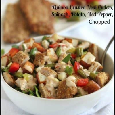 Quinoa Crusted Veal Cutlets, Spinach, Potato, Red Pepper, Chopped from KC The Kitchen Chopper