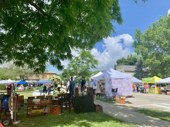 Farmers market scene in summer in Elkhart Lake, Wisconsin