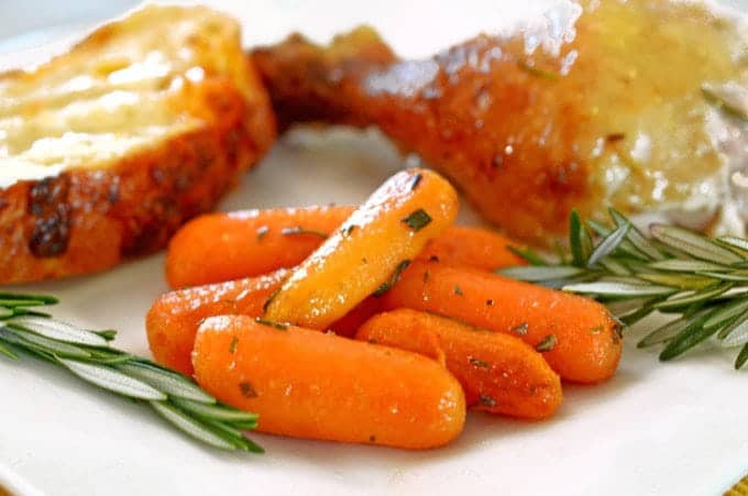 Roasted Rosemary Buttered Carrots Recipe on Platter Talk