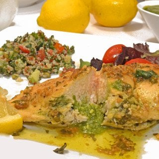 Pesto Stuffed Chicken Breast & Lemon Basil Sauce