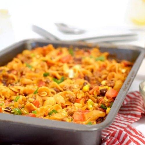 Taco Beef Noodle Casserole Recipe from Platter Talk