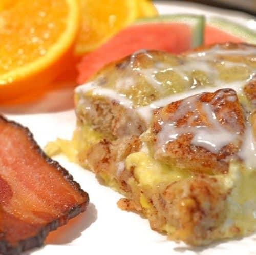 Cinnaomon Roll Breakfast Egg Bake Recipe from Platter Talk