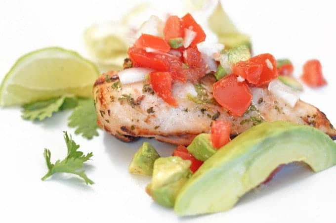 Cilantro-Lime Grilled Chicken with Avocado Salsa Recipe from Platter Talk along with avocoado nutrition information.