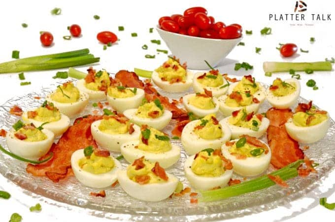 Bacon & Scallions Deviled Eggs Recipe from Platter Talk