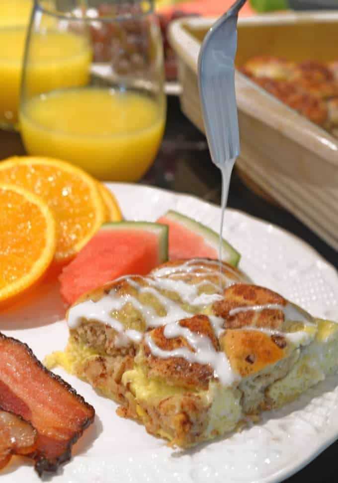 Cinnaomon Roll Breakfast Egg Bake Recipe from Platter Talk