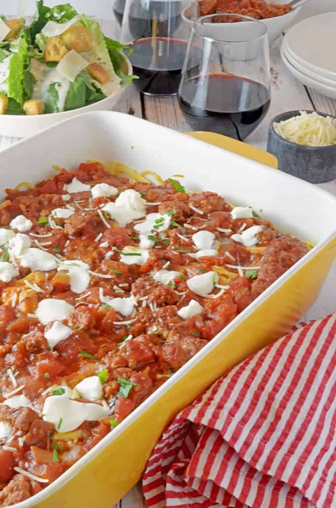 Spaghetti Pie Casserole Using Homemade Spaghetti Sauce Family Meal Recipe from Platter Talk