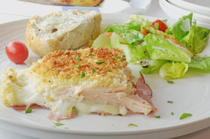 This chicken cordon bleu casserole has ranch dressing in the middle.