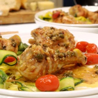 Braised Garlic Chicken & Capers with Lemon-Anchovies Sauce