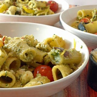 Summer Zucchini, Fresh Ricotta & Basil Pesto Over Pasta Recipe from Platter Talk