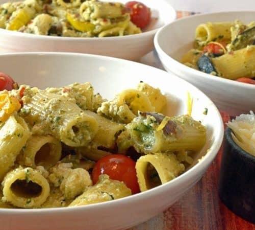 Summer Zucchini, Fresh Ricotta & Basil Pesto Over Pasta Recipe from Platter Talk