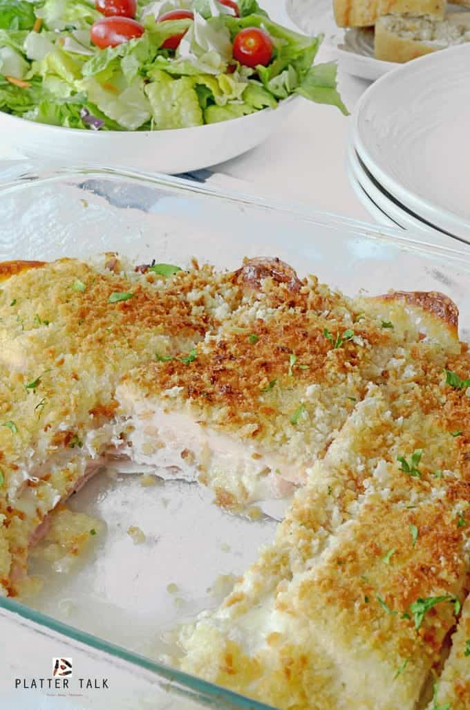Feed a family of six to eight, with chicken cordon bleu casserole.