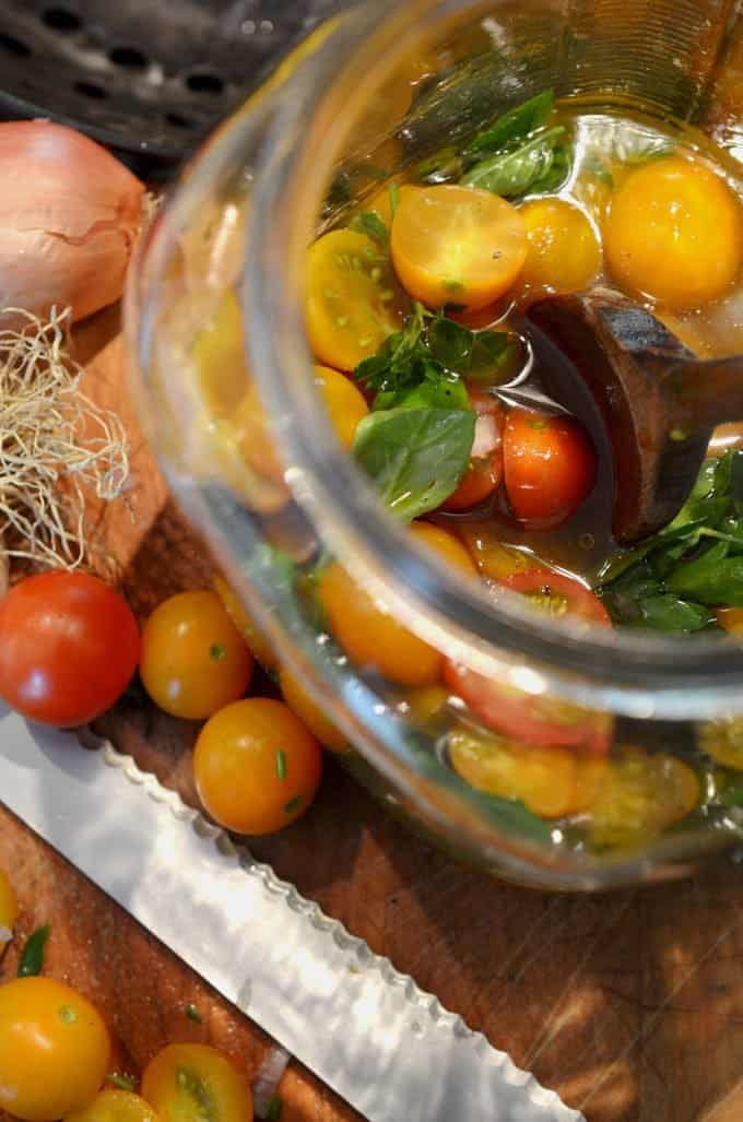 Marinated Farmers Market Tomatoes Summer Recipe from Platter Talk