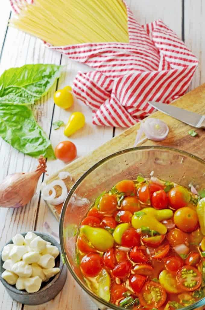 Spaghetti Caprese con Pomodori Marinati (Marinated Tomatoes) Recipe from Platter Talk