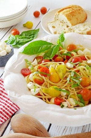 Spaghetti Caprece con Pomodori Marinati (Marinated Tomatoes) Recipe from Platter Talk