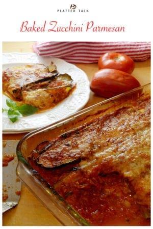 Pan of baked zucchini parmesan