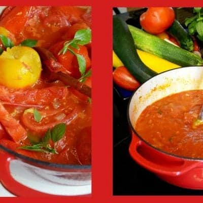 Slow Cooked Tomato Sauce with Roasted Sweet Peppers